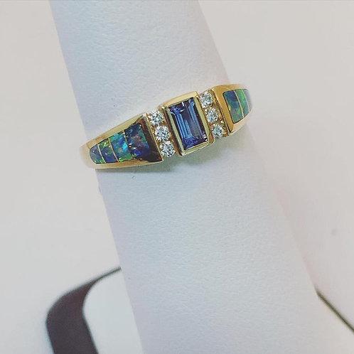 14k yellow gold tanzanite, diamond and opal ring