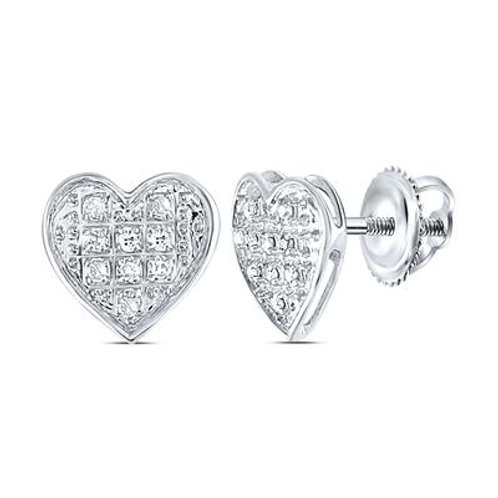 10k White Gold Pave-Set Diamond Heart Earrings