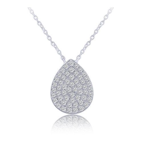 14k White Gold Pave Set Pear Shaped Diamond Pendant