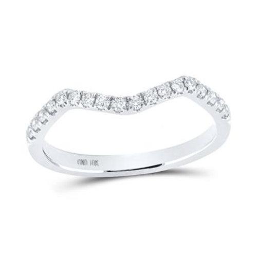 10kt White Gold Curved Diamond Wedding Band