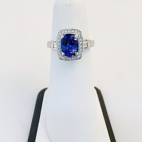 14k White Gold Tanzanite & Diamond Ring