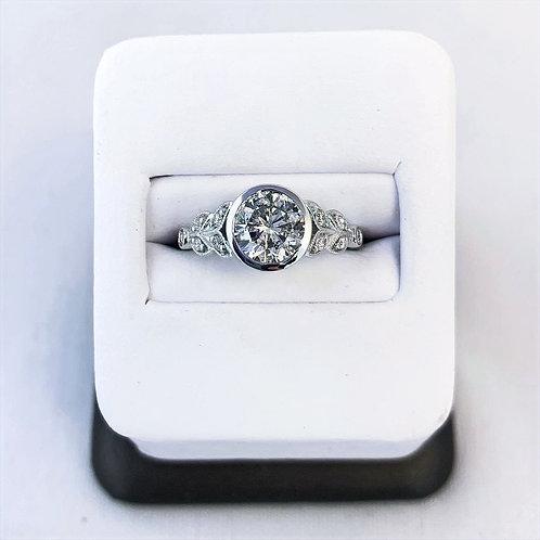 14k White Gold 1.33ct Round Bezel Set Engagement Ring