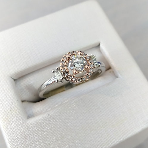 14k White & Rose Gold Halo Accented Solitaire Engagement Ring