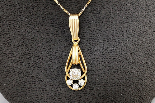 14k Yellow Gold 0.73ct Diamond Pendant