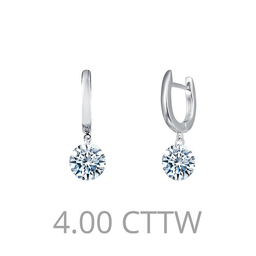 Sterling Silver Frameless Drop Solitaire Earrings