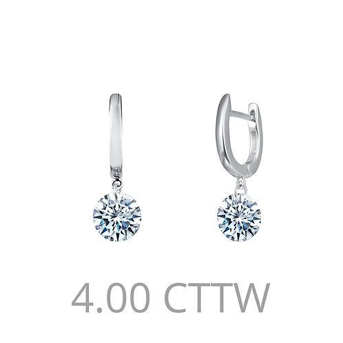 Sterling Silver Frameless Drop Solitaire Earrings