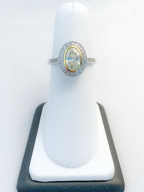 14k White Gold 1.29ct Yellow & White Diamond Halo Engagement Ring