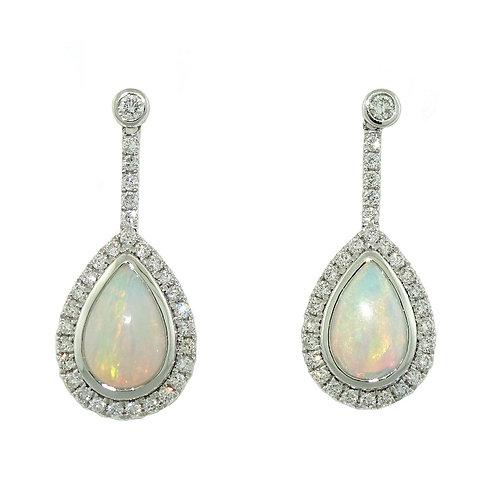 14kt White Gold Opal & Diamond Dangle Earrings