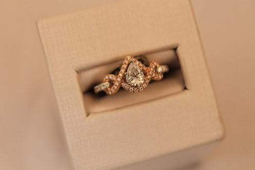 14kt White & Rose Gold 0.77cctw Pear Cut Diamond Engagement Ring