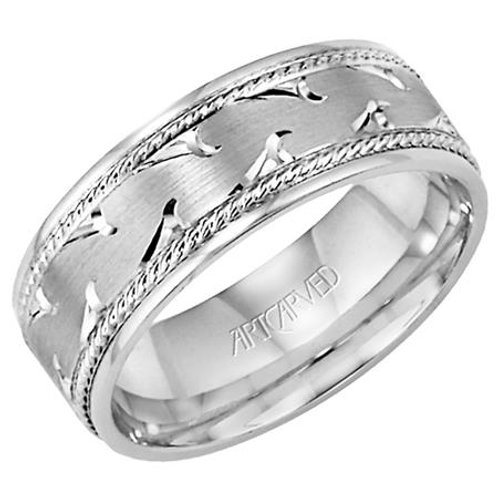 14k White Gold Men's Wedding Band with Engraving and Rope Detailing