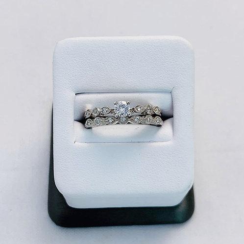 14k White Gold 1/3ct Round Diamond Wedding Set