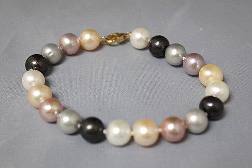 14k Yellow Gold Multi-Color Pearl Bracelet