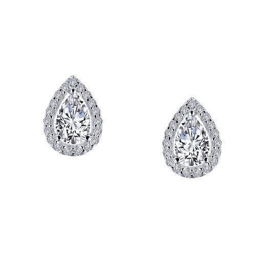 Sterling Silver Pear-Cut Halo Earrings