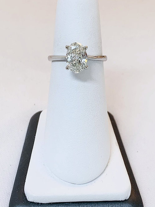 14k White Gold 1.50ct Oval Diamond Solitaire Engagement Ring