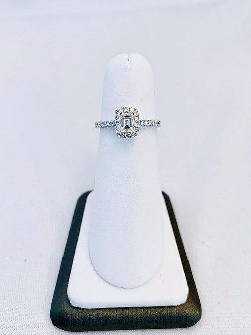 14k White Gold 0.86ct Emerald Cut Diamond Engagment Ring