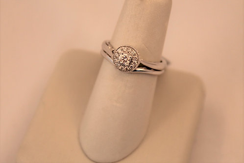 14kt White Gold Halo Diamond Engagement Set