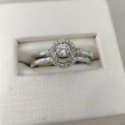 14k White Gold 1/3ctw Diamond Engagement Set- 2 piece
