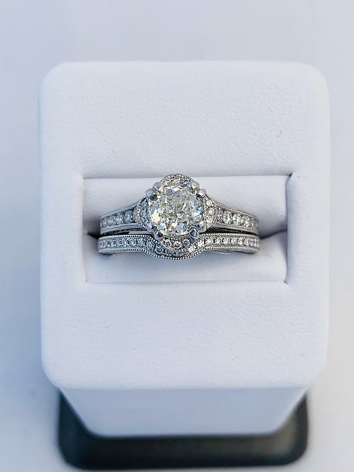 14k White Gold 1.77ct Cushion Cut Diamond Wedding Set