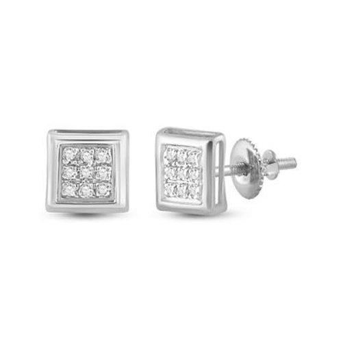 10k White Gold Pave-Set Diamond Square Cluster Earrings