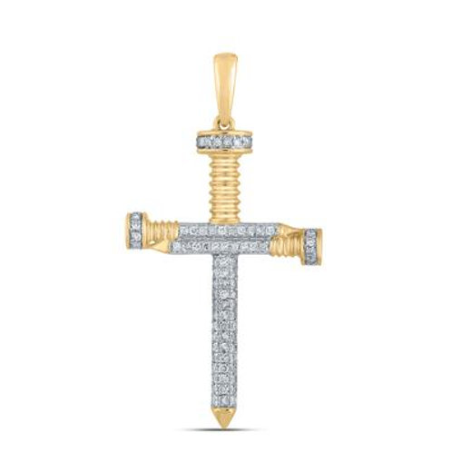 10k Yellow Gold Diamond Nail Cross Pendant