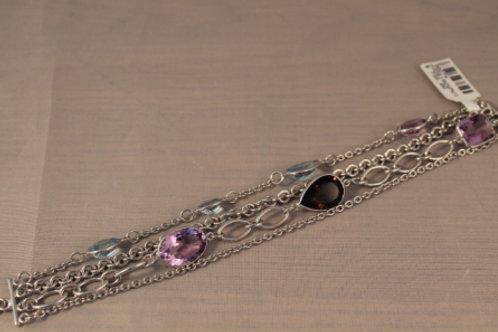 Sterling Silver 4 Chain & Gemstone bracelet