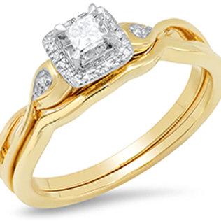 10k Yellow Gold Princess Cut Diamond Wedding Set With Halo