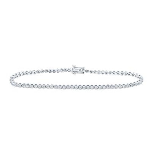 10k White Gold Round Diamond Studded Tennis Bracelet
