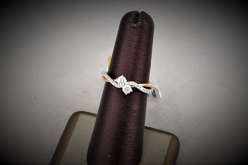14k Rose & White Gold 0.50ct Duo Diamond Ring
