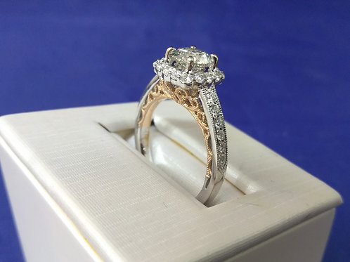 1.38ctw Diamond Accented Halo Engagement Ring in 14k White and Rose Gold