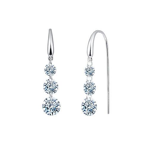 Sterling Silver Frameless Past, Present & Future Dangle Earrings