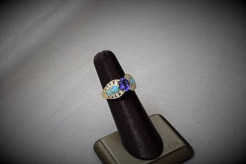 14k Yellow Gold Tanzanite, Diamond & Opal Ring