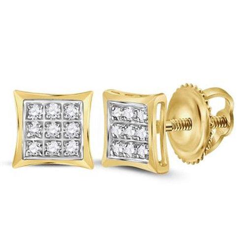 10K Yellow Gold Diamond Kite Square Stud Earrings
