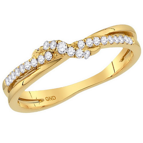10kt Yellow Gold Womens Round Diamond Crossover Stackable Band Ring 1/6 C