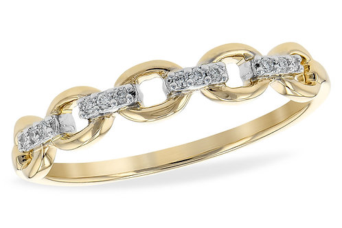 14kt Yellow Gold Open Link Wedding Band With Diamonds