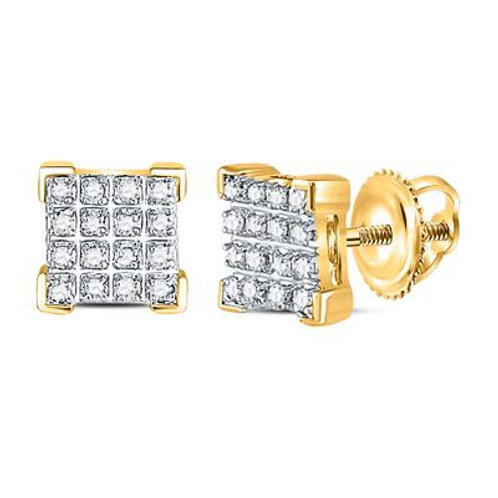 10kt Yellow Gold Round Diamond Square Cluster Earrings