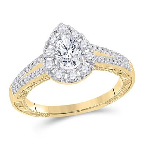 14k Yellow Gold Pear Shaped Diamond Ring With Halo