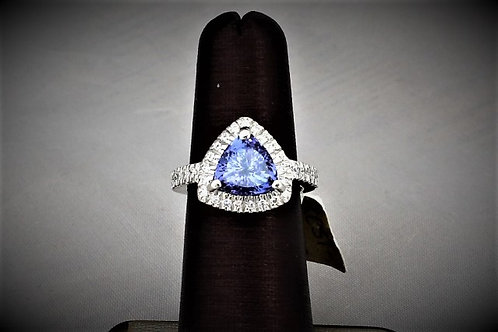 14k White Gold Trillion Cut Tanzanite and Diamond Ring