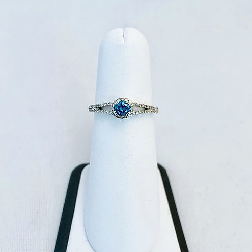 14k White Gold, 0.41ct Blue Diamond Ring with White Diamond Accents