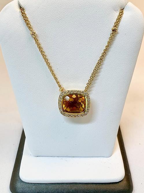 18k Yellow Gold Golden Topaz & Diamond Necklace