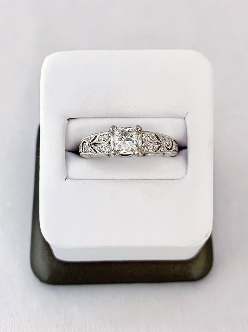 Platinum 0.83ct Princess Cut Diamond Engagement Ring