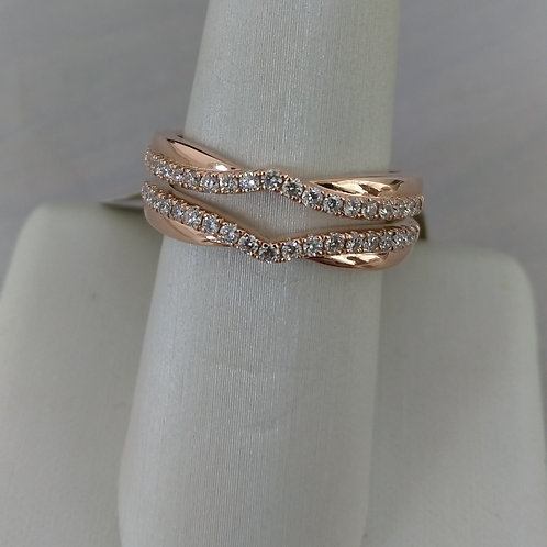 14k Rose Gold 2 Piece Engagement Ring / Band Wrap Set