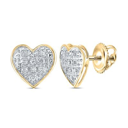 10k Yellow Gold Heart Earrings With Diamonds