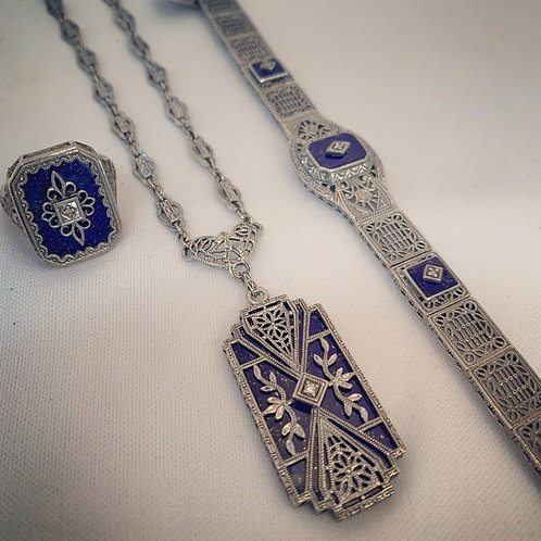 2 Piece Lapis Stone and Diamond Sterling Silver Set