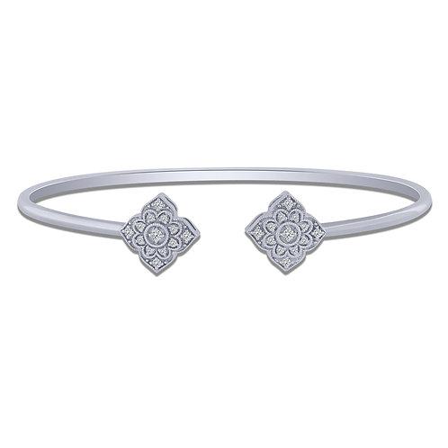 10k White Gold 0.16ct Diamond Flexible Bangle Bracelet