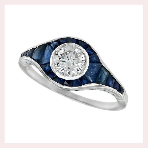14k White Gold Vintage Style Sapphire & Diamond Ring