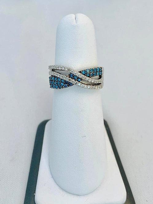 14k White Gold, 1.00ct Blue and White Diamond Ring