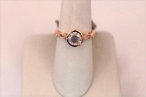 14kt Rose Gold Bezel Set Diamond Engagement Ring