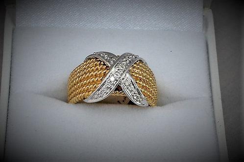 14k Two-Tone Yellow & White Gold Diamond Ring