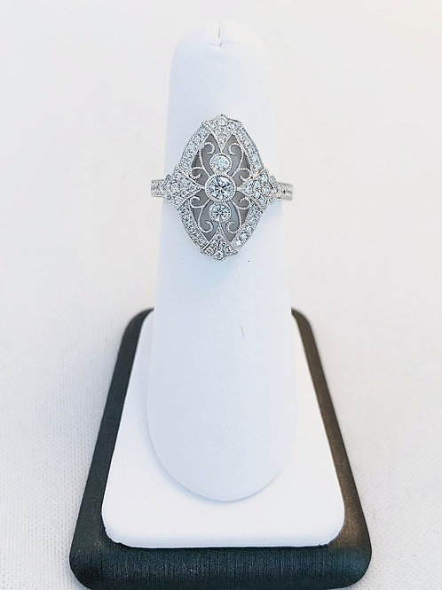 14k White Gold Vintage Style 0.53ct Diamond Ring