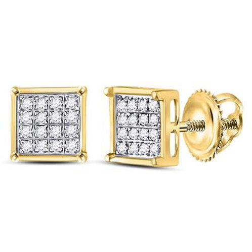 10k Yellow Gold Square Stud Earrings With Diamonds